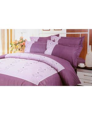 Комплект постельного белья с вышивкой 3 предмета HAMRAN. Цвет: сиреневый, розовый