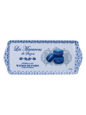 Поднос 33,8 х 16,9 см,  Миндальное печенье Сюзанны Orval. Цвет: синий, белый