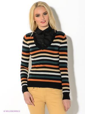 Пуловер Oodji. Цвет: черный, морская волна, терракотовый, светло-серый