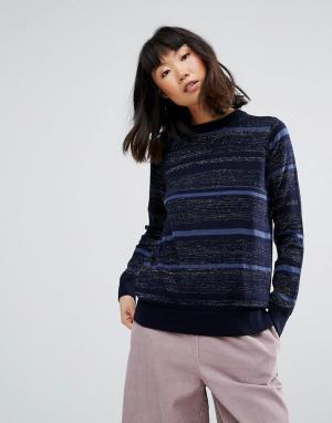 MiH Jeans Вязаный джемпер в полоску из мериносовой шерсти M.i.h Falls. Цвет: темно-синий