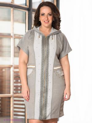 Платье Giani F. Цвет: серый меланж, белый