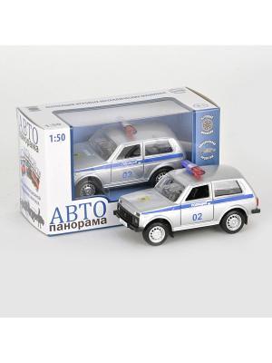 Машинка металлическая инерц. Полиция 1:50, открываются двери в/к АВТОПАНОРАМА. Цвет: белый, черный, синий, красный
