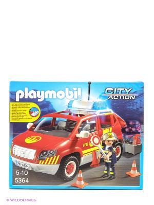 Конструктор Пожарная машина командира со светом и звуком Playmobil. Цвет: красный