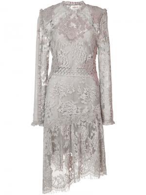 Кружевное платье Zimmermann. Цвет: серый