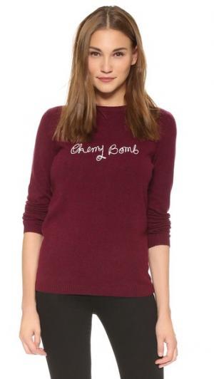 Кашемировый свитер с надписью «Cherry Bomb» Bella Freud. Цвет: бургунди