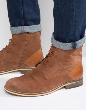 Frank Wright Светло-коричневые замшевые ботинки на шнуровке. Цвет: рыжий