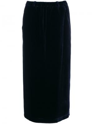 Бархатная юбка-миди Aspesi. Цвет: синий
