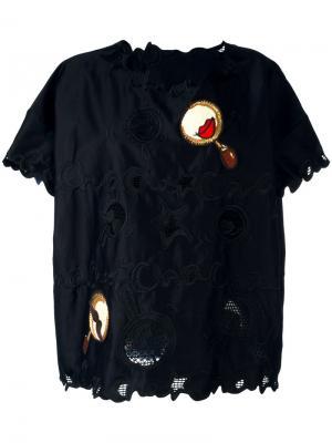 Patched macramé lace T-shirt Tsumori Chisato. Цвет: чёрный