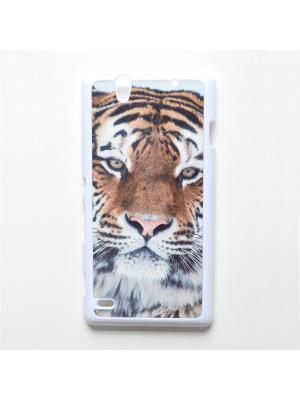 Чехол для Sony Xperia C4 Тигр Boom Case. Цвет: черный, белый, персиковый