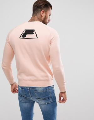 Fila Vintage Розовый свитшот с аппликацией-логотипом на спине Black. Цвет: розовый