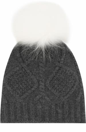 Шерстяная шапка фактурной вязки с меховым помпоном Yves Salomon Enfant. Цвет: белый