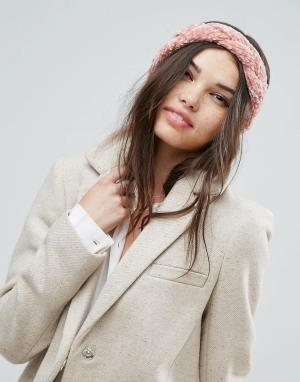 ASOS Плетеная повязка на голову. Цвет: розовый