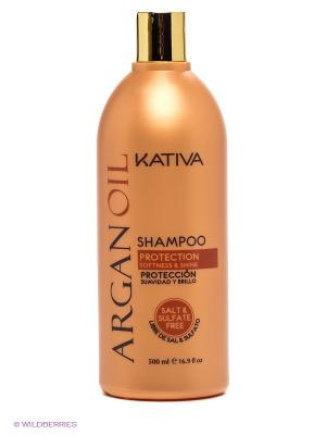 Увлажняющий шампунь Kativa с маслом Арганы ARGAN OIL, 500мл. Цвет: бежевый, золотистый