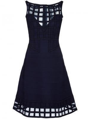 Расклешенное платье с сетчатыми панелями Hervé Léger. Цвет: синий