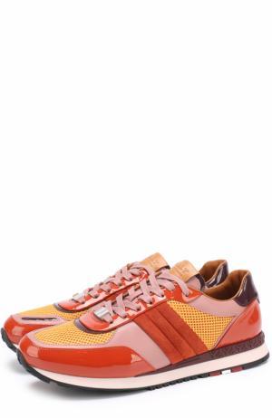 Комбинированные кроссовки на шнуровке Bally. Цвет: оранжевый