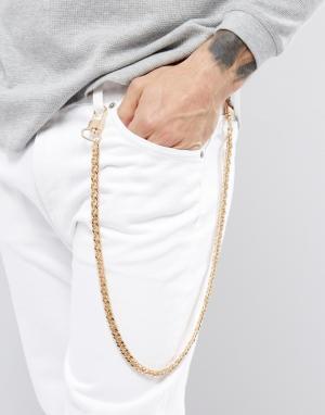 Chained & Able Золотистая цепочка на джинсы с крупными звеньями. Цвет: золотой