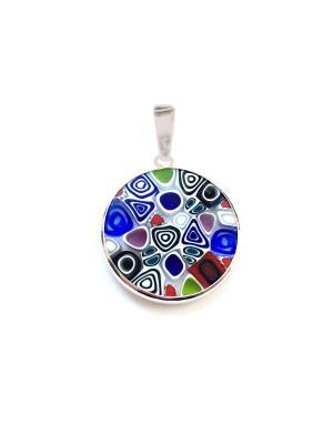 Подвеска Миллефиори, 18мм, цвет M01A Bottega Murano. Цвет: черный,синий,голубой