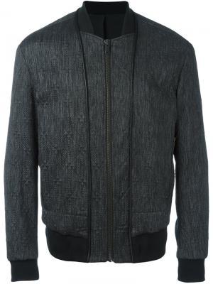 Стеганая куртка-бомбер System Homme. Цвет: чёрный