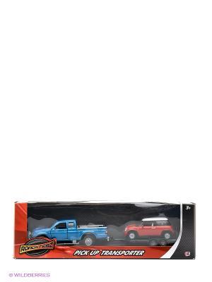 Машинки с прицепом в масштабах 1к43 и 1к32 Голубая красная HTI. Цвет: голубой