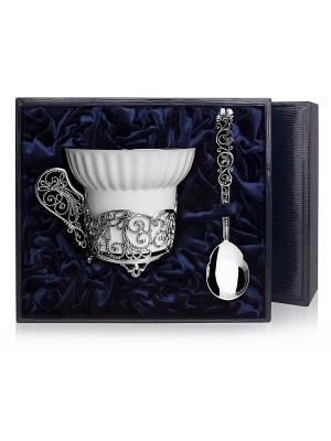 Набор чашка чайная Зимние узоры+ложка (2предмета) пр.925+футляр АргентА. Цвет: серебристый