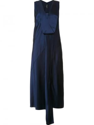 Платье с V-образным вырезом Narciso Rodriguez. Цвет: синий