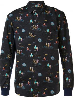Рубашка с космическим принтом Undercover. Цвет: чёрный