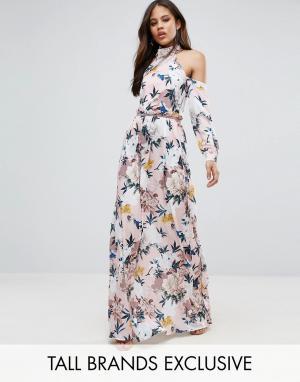 Taller Than Your Average Платье макси с вырезами на плечах, складками талии и цветочным прин. Цвет: розовый