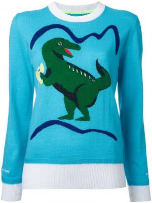 Джемпер с принтом-интарсией динозавра Muveil. Цвет: синий