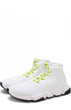 Текстильные кроссовки Speed на шнуровке Balenciaga. Цвет: белый