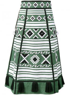 А-образная юбка с вышивкой Croatia Vita Kin. Цвет: зелёный