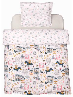 Комплект постельного белья 1,5СП Лошадки DAISY. Цвет: коричневый, светло-бежевый, серый меланж