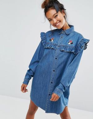 Lazy Oaf Джинсовое платье-рубашка с Минни Маус X Disney. Цвет: синий