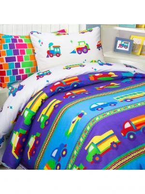 Комплект постельного белья Mona Liza Kids Машинки. Цвет: синий, белый, красный
