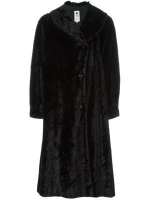 Пальто из искусственного меха Emanuel Ungaro Vintage. Цвет: чёрный