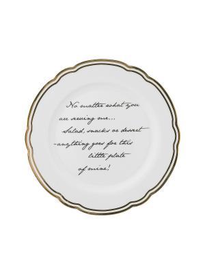 Набор из 4-х тарелок Marais Text MollyMarais. Цвет: черный, белый, золотистый