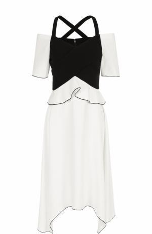 Мини-платье асимметричного кроя с открытыми плечами Proenza Schouler. Цвет: черно-белый