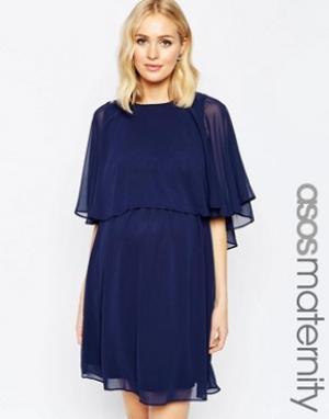 ASOS Maternity Короткое приталенное платье для беременных с накидкой. Цвет: синий