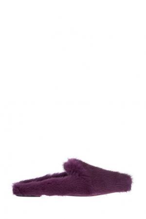 Слиперы из меха норки Purr Slipper Aquazzura. Цвет: фиолетовый
