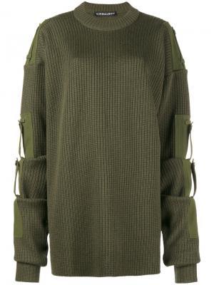 Трикотажный свитер свободного кроя со съемными рукавами Y / Project. Цвет: зелёный