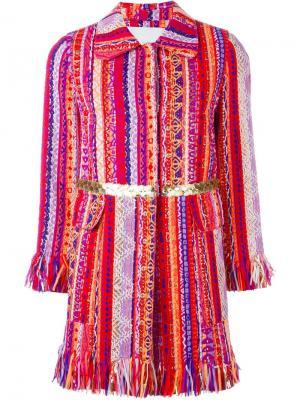 Тканое пальто с бахромой Giada Benincasa. Цвет: многоцветный