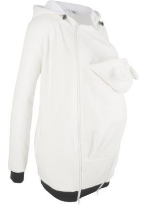 Флисовая куртка для беременных и молодых мам с карманом малыша (кремовый) bonprix. Цвет: кремовый