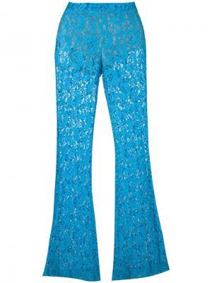 Расклешенные кружевные брюки Moschino. Цвет: синий