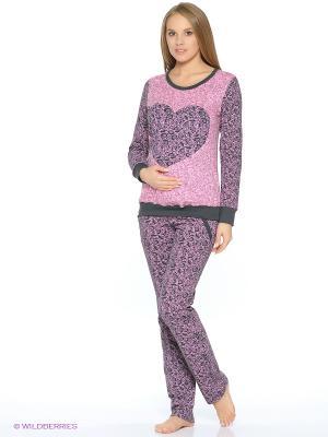 Комплект для беременных (лонгслив+брюки с бандажом) Hunny Mammy. Цвет: бледно-розовый, бронзовый, розовый