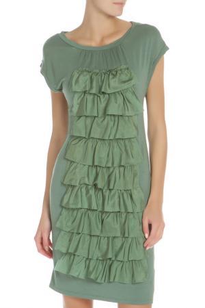 Платье-футболка с декоративными волнами Liu Jo. Цвет: зеленый