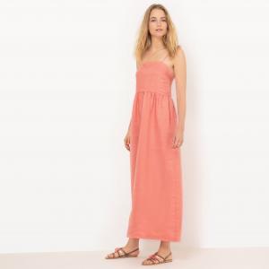 Платье длинное с тонкими бретелями завязками La Redoute Collections. Цвет: голубой меланж,мандариновый,темно-розовый,темно-синий