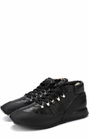 Кожаные кроссовки на шнуровке с внутренней меховой отделкой Officine Creative. Цвет: черный