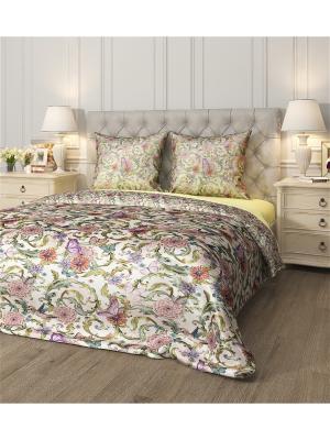 Комплект постельного белья Райский сад, 1,5 - спальный Сирень. Цвет: желтый, голубой, розовый