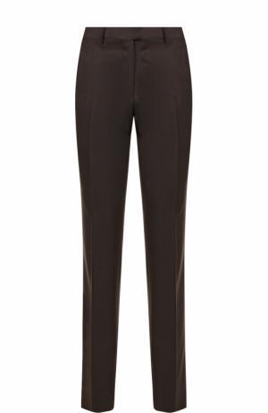 Шерстяные брюки прямого кроя Ermenegildo Zegna. Цвет: коричневый