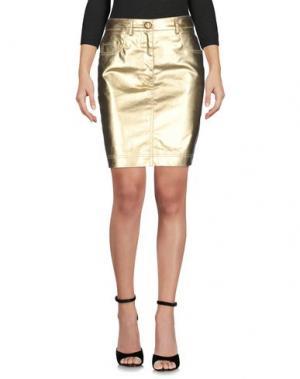 Джинсовая юбка MOSCHINO COUTURE. Цвет: золотистый