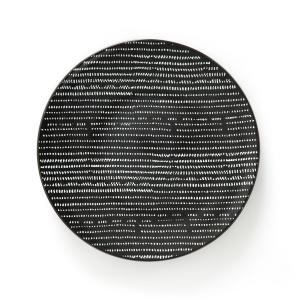 4 плоские тарелки из керамикиTADSIT La Redoute Interieurs. Цвет: наб. рисунок черный/ белый
